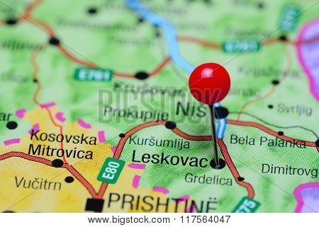 Leskovac pinned on a map of Serbia