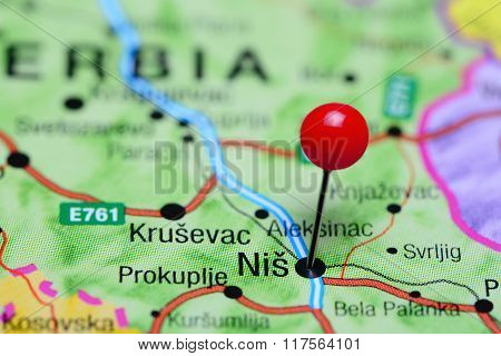 Nis pinned on a map of Serbia