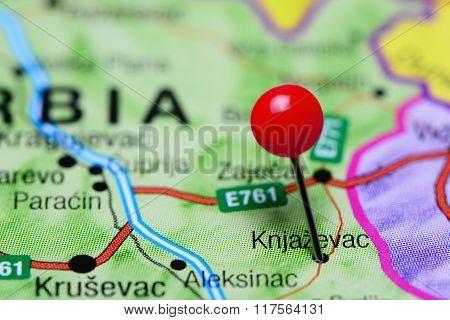 Knjazevac pinned on a map of Serbia