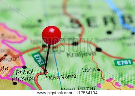 Nova Varos pinned on a map of Serbia