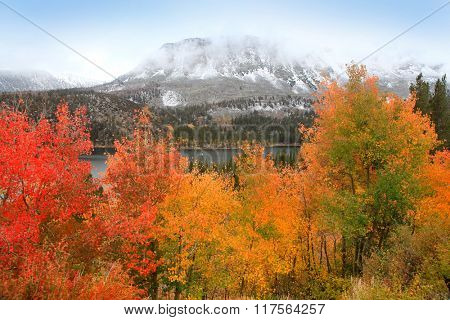 Snow covered mountains and autumn trees in Sierra Nevada mountains