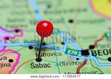 Sabac pinned on a map of Serbia