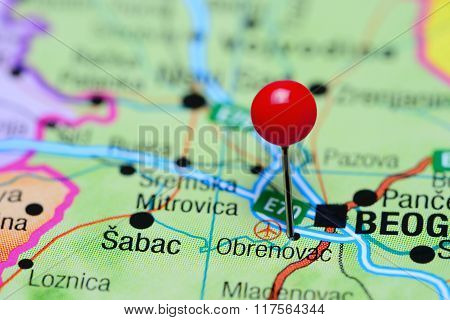 Obrenovac pinned on a map of Serbia