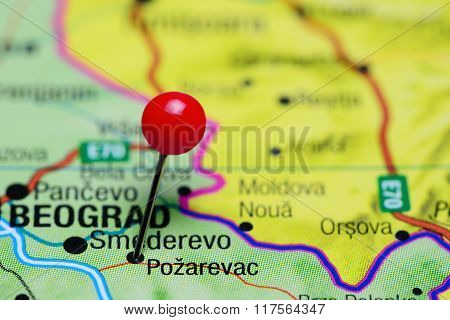 Pozarevac pinned on a map of Serbia