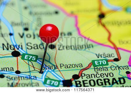 Stara Pazova pinned on a map of Serbia