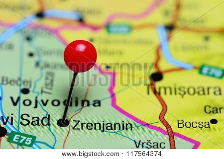 Zrenjanin pinned on a map of Serbia