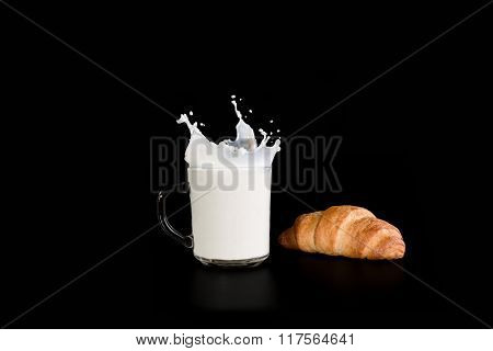 Cup With Milk And Croissant