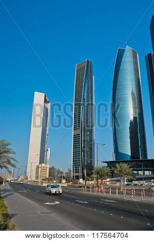 Abu Dhabi Downtown Streets With Skyscrapers