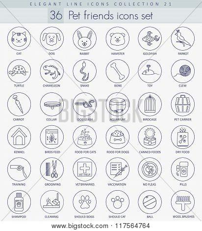 Vector pet friends outline icon set. Elegant thin line style design.