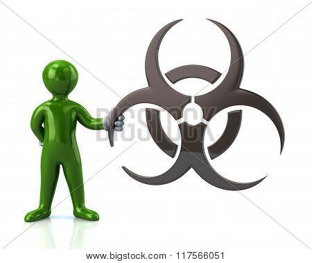 Green Man Character Holding Biohazard Symbol