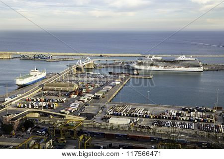 Aerial View Of The Port Of Barcelona
