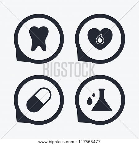 Medical icons. Pill, tooth, chemistry and heart.