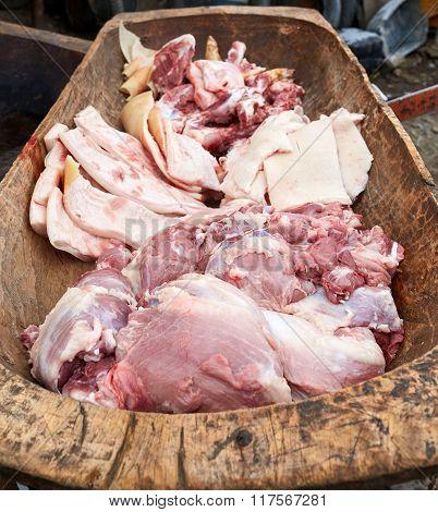 Pork Meat In A Wooden Trough
