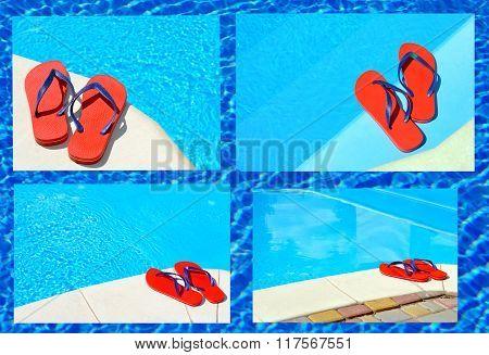 Pair Of Red Flip-flops.