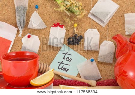 Bunch Of Tea Bags And Cup Of Tea