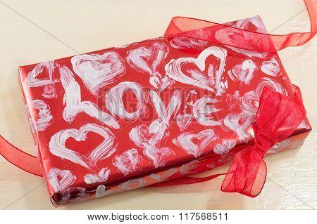 Red Present Box For Valentine's