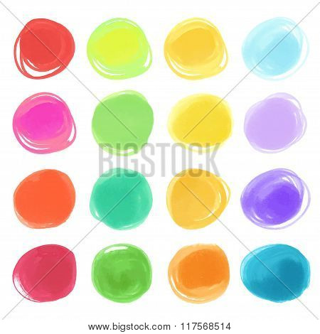 Watercolour marker circle textures drawn. Stylish elements for design. Vector circles