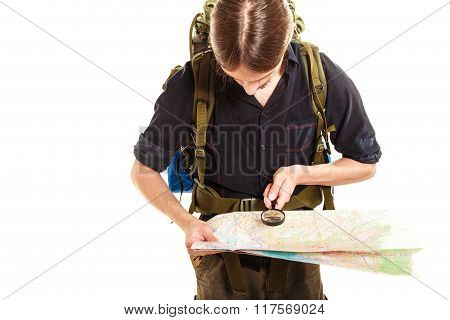Man Tourist Reading Map With Magnifying Glass