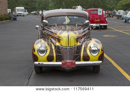 1940 Ford Coupe Brown With Flames Front View