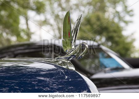 1949 Packard Blue Car Hood Ornament