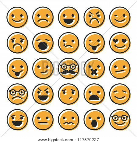 Set of emoticons, flat characters icons