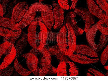 composition with red lips imprint seamless background