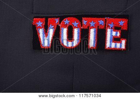 Usa Vote Badge On Suit Pocket.