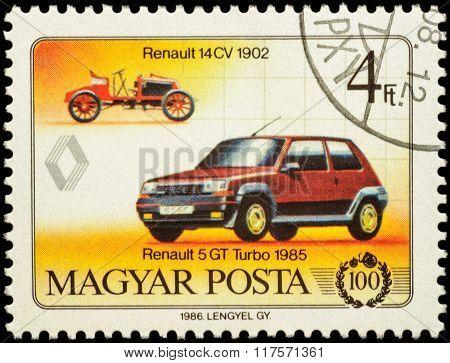 Cars Renault 14Cv (1902) And Renault 5Gt Turbo (1985) On Postage Stamp