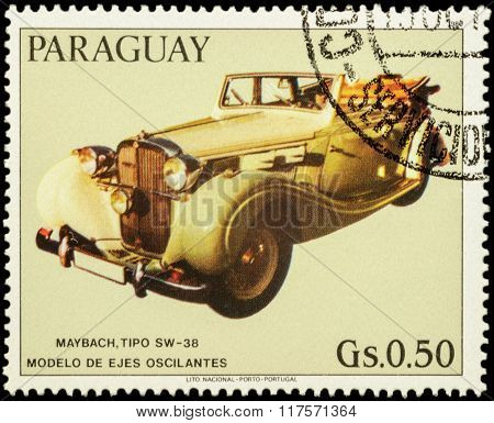 Old Car Maybach Sw-38 On Postage Stamp
