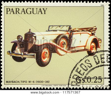 Old Car Maybach W-6 (1930-36) On Postage Stamp