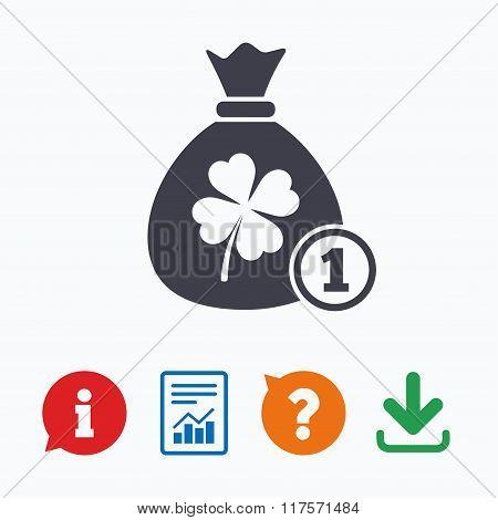 Money bag with Clover sign. St. Patrick symbol
