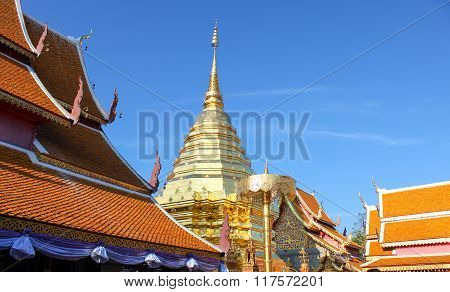 Wat Phra That Doi Suthep On Blue Sky Is The Popular Tourist Destination Of Chiang Mai, Thailand