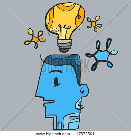 Bulb man idea doodle art