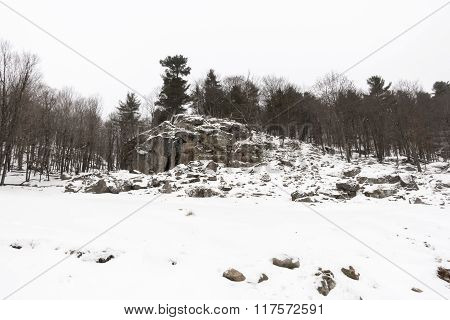 Rocky hillsides in winter