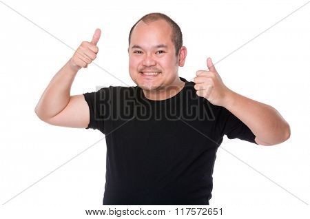 Asian man thumb up for both hand