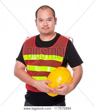 Asian Engineer holding with yellow helmet