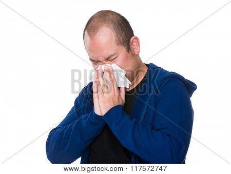 Asian man suffer from sick