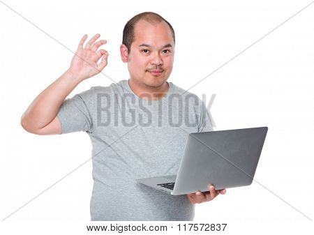 Man use of laptop computer and ok sign gesture