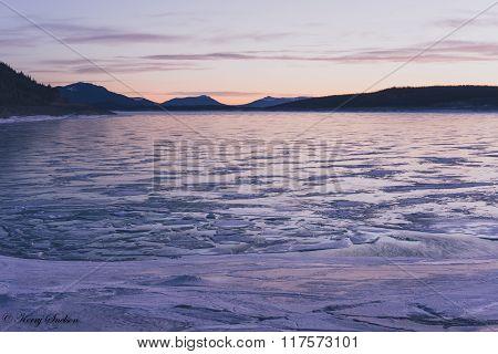 Frozen Abraham Lake At Dawn