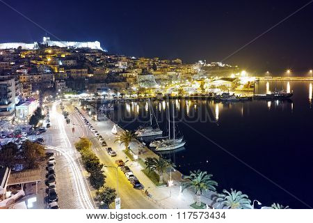 Amazing night photo of embankment and old town of Kavala, Greece
