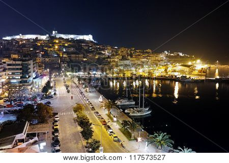Amazing night Panorama of port and old town of Kavala, Greece