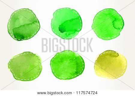 Green Dashed Watercolor Circles