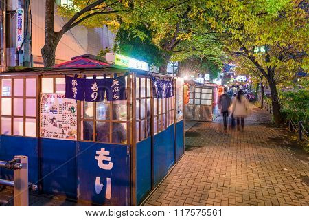 FUKUOKA, JAPAN - DECEMBER 5, 2015: Food stands, locally called