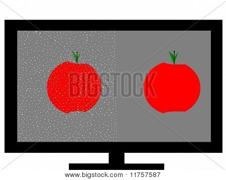 Fuzzy and Clear Television Screen