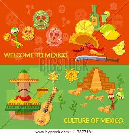 Welcome To Mexico Banners Mexican Culture And Mexican Food Tequila Sombrero