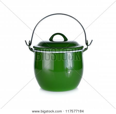Pot With Handle And Lid On White Background