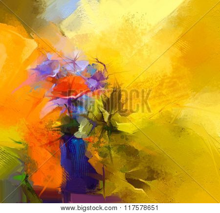 Abstract Oil Painting Still Life Of Red Gerbera Flower. Colorful Bouquet Of Spring Flowers With Ligh