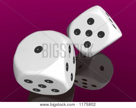 White Dices On Red Background