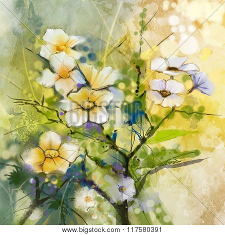 Watercolor Painting White Cherry Blossoms - Japanese Cherry - Sakura floral background