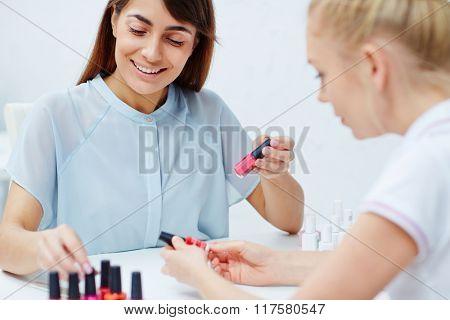 Looking through nail polishes
